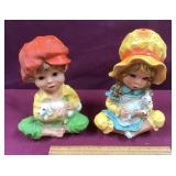 Outdoor Statues Boy And Girl Poly Resin