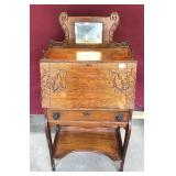 Antique Oak Desk, Beveled Mirror, Very Ornate