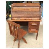 Paris Antique Oak Childs Roll Top Desk and Chair