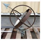 Cast Iron and Wrought Iron Metal Globe Sundial