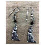 Sterling Silver Pierced Cat Earrings