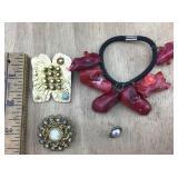 Art Pin, Goldette Pin, Cinnabar Chunk Bracelet