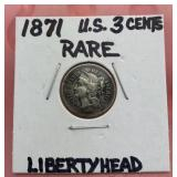 1871 U.S. 3 Cent Liberty Head Coin
