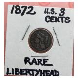 1873 U.S. 3 Cent Liberty Head Coin
