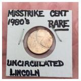 1980s Misstrike Error Lincoln Cent