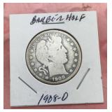 1908 O Barber Silver Half Dollar