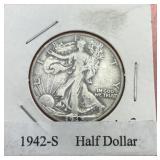 1942 S Walking Liberty Silver Half Dollar