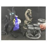 Collection of Dragon Candle Holders & Disney Toy