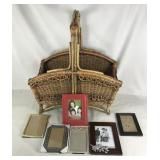 Woven Basket with 5 Picture Frames