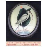 Wooden Oval Frame With Bird Art