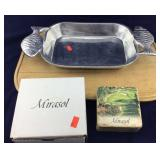 Pewter Fish Dish/Pan and Tumbled Marble Coasters