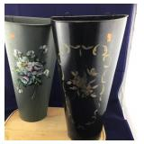 Tall Tin Hand Painted Dried Flower Wall Containers