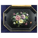 Very Large Toleware-Type Signed Painted Tray