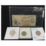 Antique U.S. Fractional Currency & 3 Vintage Coins