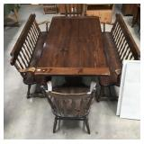 Ethan Allen Pine Country Table 5 Piece Set