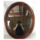 Oval Beveled Mirror Sleek Wooden Frame