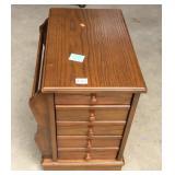 Oak Finish End Table Magazine Cabinet