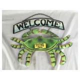 Recycled Metal Hand Painted Welcome Crab