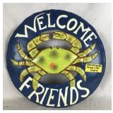 Recycled Hand Painted Welcome Friends Crab Sign