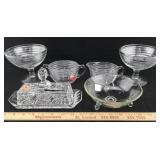 Depression Glass Pieces, Crystal Butter Dish, Etc.