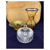 Pair of Yellow Blenko Pcs and Crystal Candy Dish