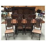 Phenomenal Ornate Oak Carved Sideboard/Table And