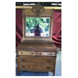 Gorgeous Antique Oak Dresser with Beveled Mirror
