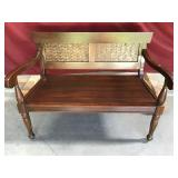 Gorgeous Pine Bench with Wicker Panels on Back