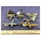 Two Vintage Military Motif Metal Ashtrays And 3