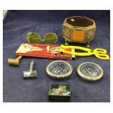 Sterling/Glass Coasters + Beveled Glass Box +