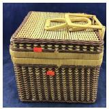 Vntg Handled Basket + Wine Related Deco Items