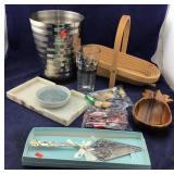 Waste Basket & Bread Basket & Abalone Tray +