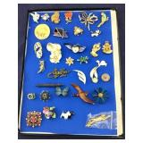 Glass Topped Case of Costume Pins