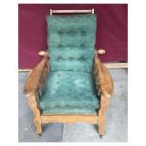 vintage oak Morris chair, on wheels,