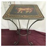Wood/metal Cow Hand Painted Table