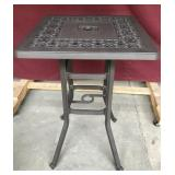 Tall Metal Table, Ornate, Slot for an Umbrella