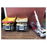 Working Fire Truck, Two Tonka Trucks