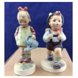 Pair of W Germany Hummel Boy & Girl Statues