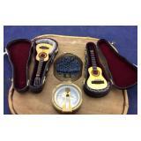 Brass Compass & 2 Miniature Guitars in Cases