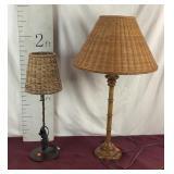 2 Wicker Shade Lamps