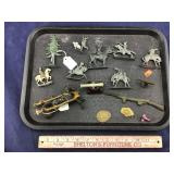 Tray Of Metal Figures Includes Cowboys & I