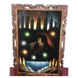 Artwork/oil on Felt, Elvis, signed Amila