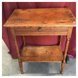 Antique Oak Lamp Table with Drawer