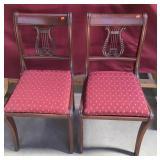 Pair Vintage Mahogany Harp Back Chairs, Beautiful