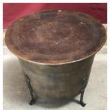 Large Metal Drum Table Hammered Top