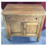 Antique Oak Washstand, on Wheels