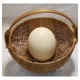 Unusual Large Ostrich Egg In Basket