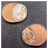 2 Error Lincoln Pennies- Struck Off Center