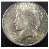 1922 Peace Silver Dollar AU+