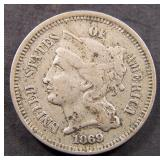 1869 Three Cent Nickel- VF
